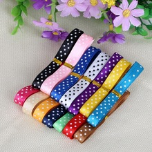 10mm Random Mix Color Dot Satin Ribbon Printed DIY Handmade Head Wreaths Hair Wedding Party Gift Packing 12y/lot(1y/color)