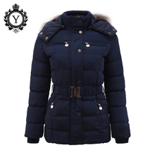 COUTUDI New Arrival Winter Jacket Women Slim Thick Warm Stylish Jacket Coats Lady With Fur Hooded Belt High Quality Down Jackets(China)
