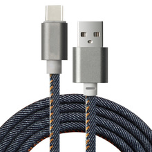 Type-C Universal Jean USB Charger Cable Fabric Braided Data Charging Sync Cord