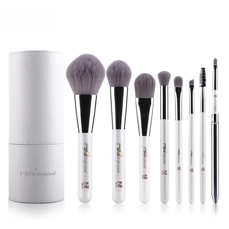 Professional Cosmetics Set 8pcs Travel Makeup Brushes High Quality Synthetic Hair Natural wood Handle With White Cylinder<br>
