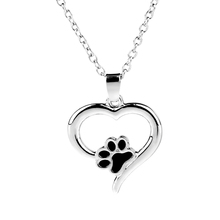 Chunky fashion necklace Hollow Pet Paw Print Necklaces Cute Dog cat Memorial Lover Paw Charm Black women Heart Necklace Girls