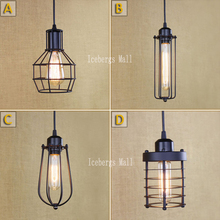 Loft Vintage Industrial Retro Pendant Lamp Edison Light E27 Holder Iron Restaurant Bar Counter Attic Bookstore Cage Lamp(China)