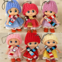 2Pcs/Set Mini Soft Doll Toy Lovely Confused Doll Plush Phone Pendant Scarf Girl Doll Kids Toys For Girls Boys Gifts Wedding Gift