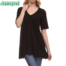 CHAMSGEND Good Deal High Quality Fashion Women's V-Neck Tunic Loose Top Short Sleeved Fat MM T Shirt  1PC_U00442