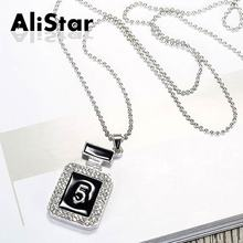 2017 New arrive fashion women's long pendant necklaces perfume design rhinestone silver plated necklace elegant jewelry #NL017