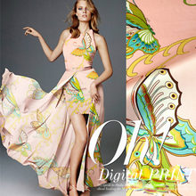 Free shipping 2015new 100% mulberry silk fabric pink butterfly charmuse silk printed plain scraf dress bedding set LS0784