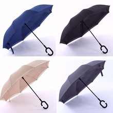 Double Layer Upside Down Reverse Inverted Umbrella C Shape Handle Inside Out Umbrella Rain Sun Proof Parasol Solid 4 Colors