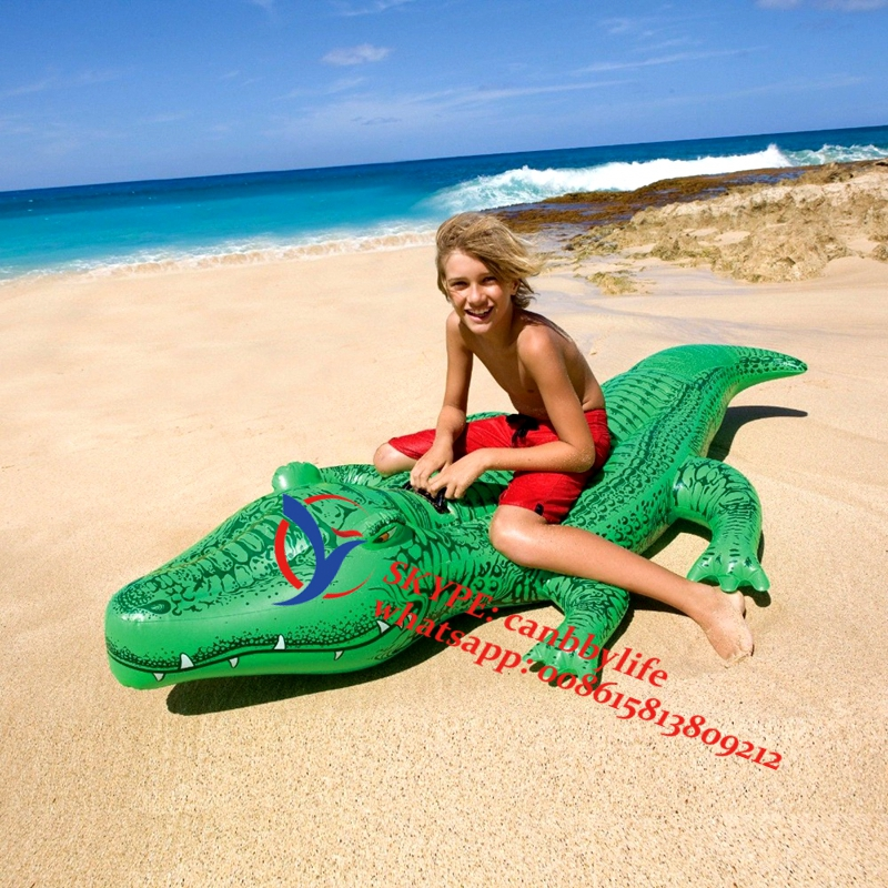 Intex Gator Ride-on Kids Children Inflatable Inflatable Bouncer Crocodile Alligator Swimming Pool Water Float Raft With Handles(China (Mainland))