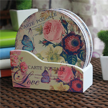 Creative gifts home decoration round 15cm 6pcs wood coasters+ box Bowl plate rose butterfly pad  insulation placemat table mat