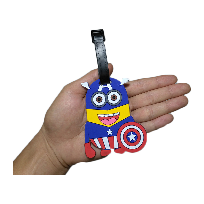 Travel Accessories Luggage Tag Suitcase Cartoon Style Cute Minions Silicone Tags Portable Travel Label Bag Tag Obag Accessories (23)
