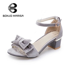 BONJOMARISA Big Size 34-43 Fashion Women Summer Bowtie Shoes Woman Chunky Heels Ankle Strap Sandals Open Toe Ladies Footwear