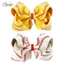 "2pcs/Lot 7"" Big Yellow White Softball Soft Leather Hair Bow With Clip Girl Sport Hair Accessories"
