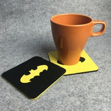 Freeshipping 8 pcs Batman Superhero Square Felt Coaster Cup mats Cartoon Pad supply fabric(China)