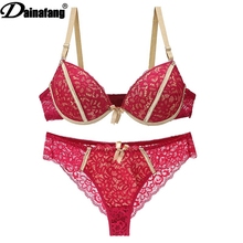 Buy DAINAFANG new sexy hollow T Hongs lingerie short dress ABC embroidered lace push women lingerie g-string dress pants trouser