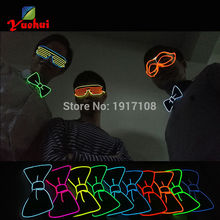 2017 Newest 10 Color glowing Wedding decorative Sound active EL Bow tie LED Bow tie Light up by DC-3V driver For Formal occasion