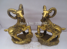 Metal Crafts Home Decoration Crafts Chinese brass carved a pair of Gold gilt coin goat Figurine/ goat Statue
