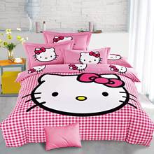 Hello kitty bedding set family Home textiles 3/4 pcs bed clothes bedlinen Bedclothes Duvet Cover Twin Full Queen
