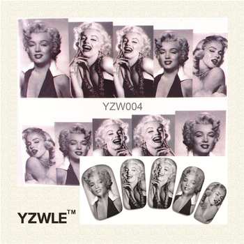 YZWLE 1 Sheet Black and white Women graphics Nail Art Water Decals Transfer Stickers, Manicure Decor Tool Cover Nail Wrap Decal