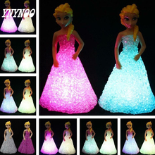 (YNYNOO)Baby Doll Toys For Girls Anna Elsa Toys Doll Ice Snow Queen 7 LED Color Changing Night Light Lamp Gift fw014