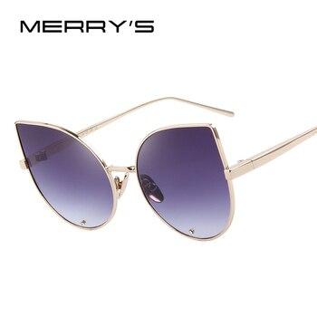 Merry's mulheres cat eye óculos de sol clássico marca designer óculos de sol de luxo diamantes incrustados lente s'8026