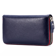2017 New Women's Genuine Leather Wallet Female Zipper Wallets RFID Blocking Clutch Large Card Holder Phone Wristlet Coin Purse(China)
