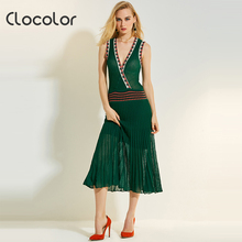 Clocolor Women Long Dress Pleated Patchwork Plain V-Neck Green Mid-Calf Pullover 2017 Female Girls New Summer Women Long Dress(China)