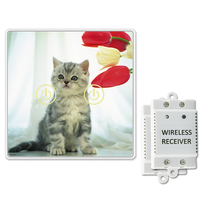 Wireless DIY Glass Design Touch Switch 2 Gang 2 Way Cat Animal Design Support Remote Control Touch Switch Power for wall Light<br>