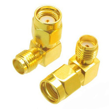 2Pcs RP SMA male to SMA female jack right angle 90 degree RF coaxial connector adapter(China)