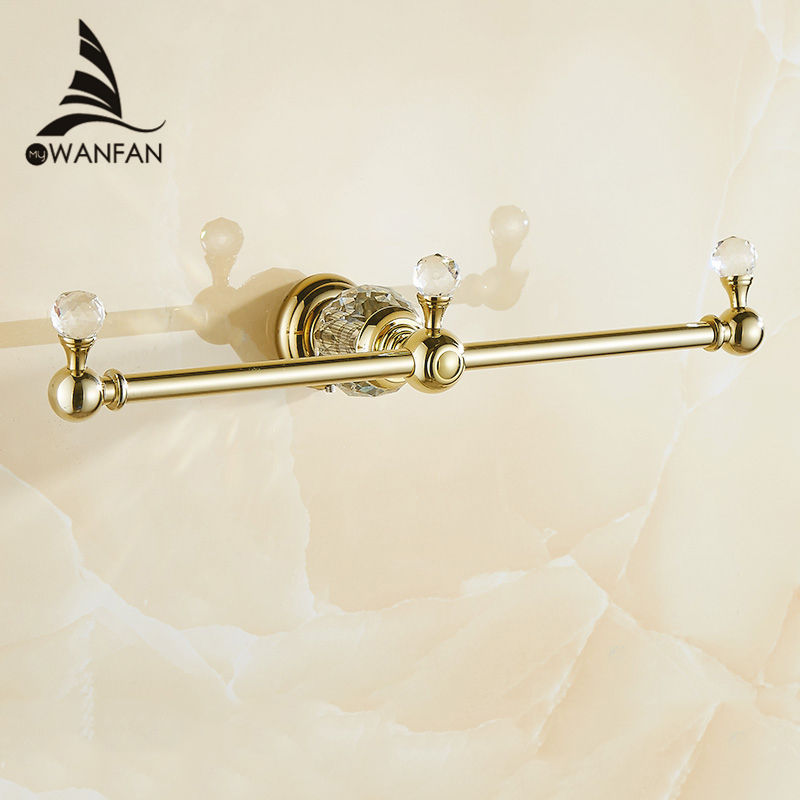 Luxury Golden Towel Rack Double Towel Bar Wall Mounted Crystal Towel Holder Classic Bathroom Accessories Free Shipping! HK-332<br>