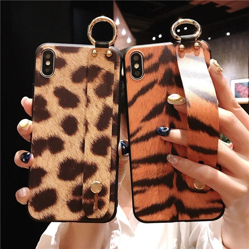 2 SoCouple Wrist Strap Phone Case For iphone X Xs max XR 6 6s 7 8 plus Leopard Print Tiger Skin Zebra Pattern Soft TPU Holder Case