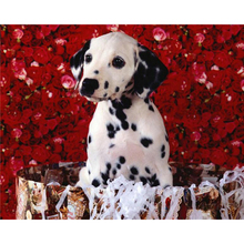 Diamond Painting Cross Stitch Round Diamond Embroidery Patchwork Diy Diamond Mosaic Pattern pet dog and red roses icon fc465(China)