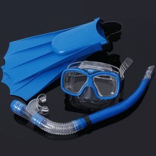 Free Shipping New High Quality Kid Children Swim Equipment Snorkel/Fins Flippers Goggles Diving Swim Scuba Mask Blue/Green