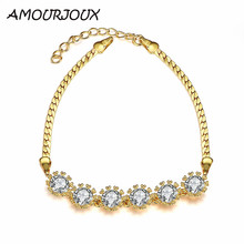 AMOURJOUX Elegant Rose Gold Color Waterdrop Charm Bracelets & Bangles With Clear CZ Female Link Bracelet Jewelry Woman Gift