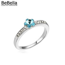 BeBella romantic flower crystal party adjustable ring for womangirl made with Swarovski Elements 5 colors for wedding jewelry(China)