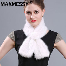 MAXMESSY Real Fur Scarfs Knitted Mink Fur Scraf Womens Scarfs Fashionable Russian Winter Scarf(China)