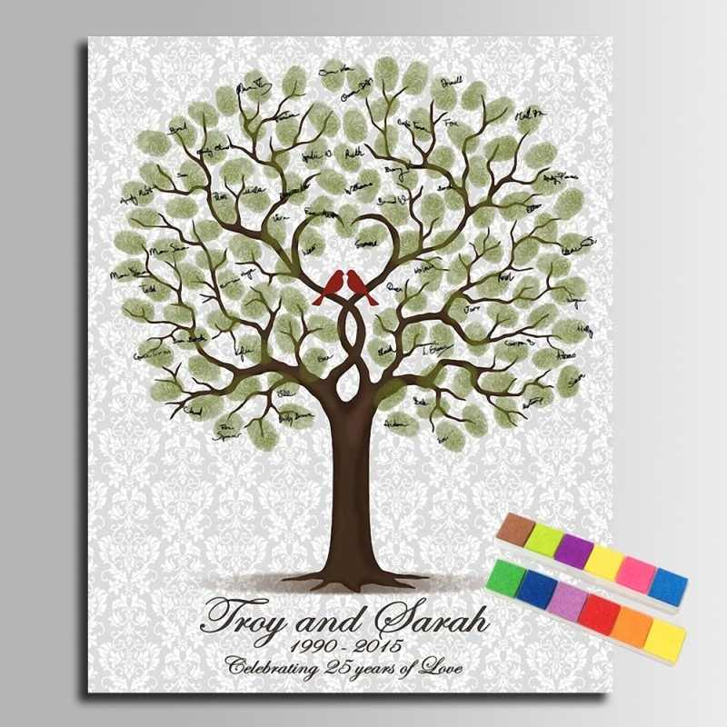 DIY Fingerprint Signature Tree Canvas Painting Loved Birds Wedding Anniversary Wedding Gift Guest Book