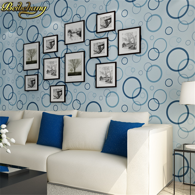 beibehang Modern Luxury Circle Design Wallpaper 3D Stereoscopic Mural Wallpapers Non-woven Home Decor Wallpapers Flocking Wa<br>