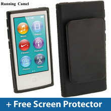 Running Camel New For iPod Nano 7 7G 7th Belt Clip TPU Rubber Gel Soft Skin Case Cover + 2pcs Screen Protective Films For Nano 7(China)