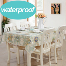 Round sky blue fabric leaf flower square dinning table banquet tablecloth linen floral waterproof tarpaulins party cotton(China)