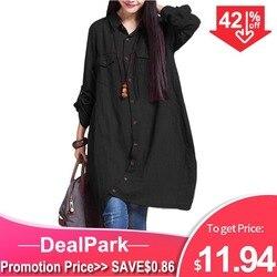 Женская длинная асимметричная блуза большого размера, свободного покроя