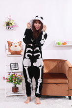 Skeleton Onesies Unisex Sleepsuit Adult Pajamas Cosplay Costumes Sleepwear Jumpsuit Halloween Christmas Party Clothing