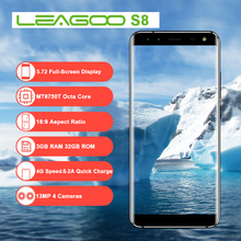 LEAGOO S8 5.72 Inch 18:9 Display Android 7.0 MTK6750T Octa Core Smartphone 3GB RAM 32GB 13MP Cameras Fingerprint 4G Cell Phone(China)
