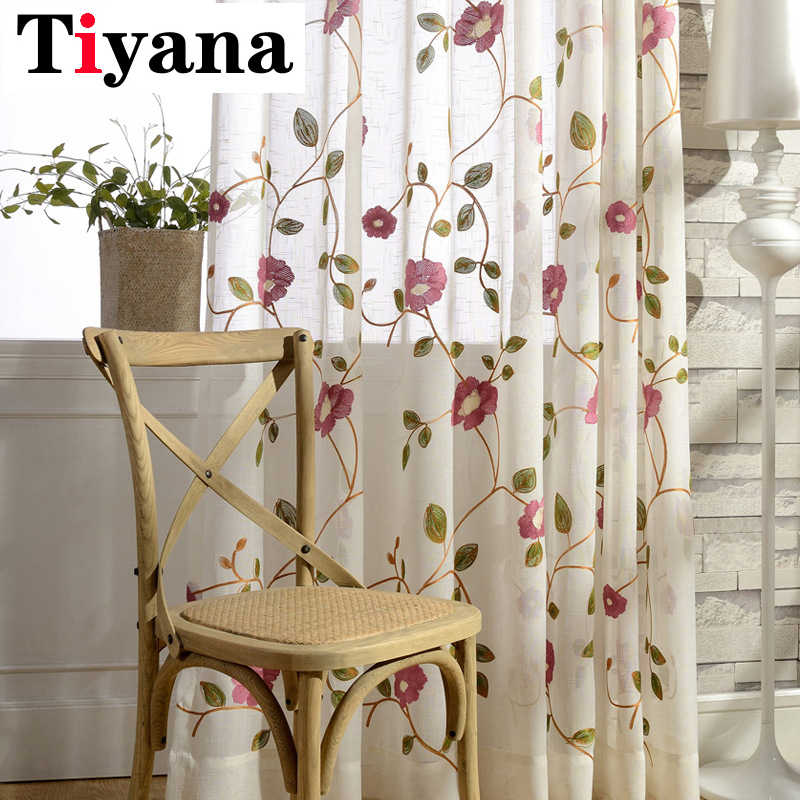 Rustic Embroidered Flower Designer Curtains For Living Room Kitchen Sheer Voile Curtain Window Screen Single Panel P106D15