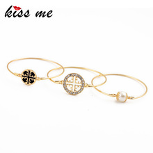 New Design Exquisite Round Flower Pattern Simulated Pearl Bracelet Set KISS ME Fashion Pulseira Bijoux for Women