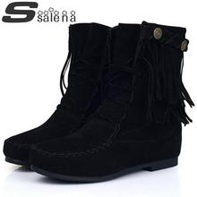 Big yards women martin boots new single boots fashion lace fringed boots comfortable suede leather ankle boots size 34-43 #B2091