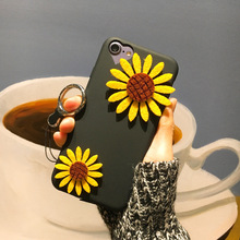 Fashion DIY Customized Dried Pressed Daisy Flower Phone Case For iphone 7 Plus 6 6s Black Back Cover Coque Capa(China)