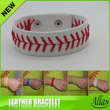 Free shipping white leather baseball softball with red stitching seam real leather bracelet(China)