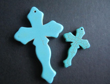 Swords shape 2 sizes large Stone vintage crosses  beads  loose beads for jewelry making blue  color