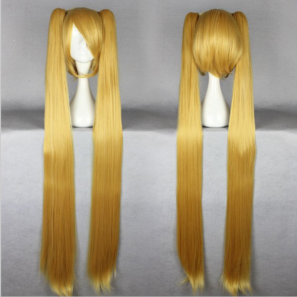 Synthetic Hair MCOSER Good Quality Synthetic Vocaloid Akita Neru Famous Animation Golden Long Straight Braided Cosplay Wig<br><br>Aliexpress