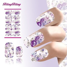 Water Transfer Nails Sticker Romantic Gray And Purple Flowers Design Nails Foil Sticker Decor Decals
